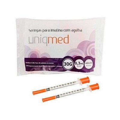 Seringas para Insulina com Agulha 30G 0,3ml (8x0,30mm) 10 unidades - UNIQMED