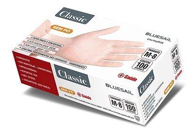 Luva de Vinil Transparente Sem Pó Classic - Caixa 100 unidades Tamanho M- Blue Sail