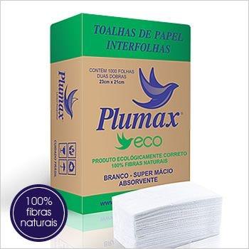 Toalhas de Papel Interfolhas Plumax Eco - 1000 folhas