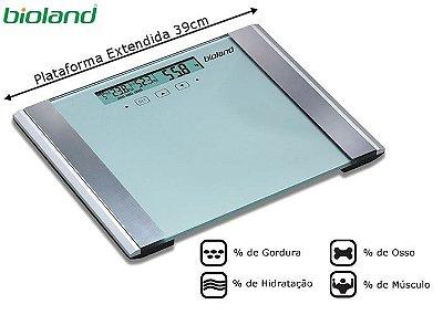 Balança com Monitor de Gordura / Hidratação largura da plataforma: 39cm - Bioland