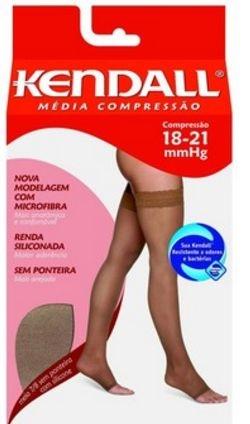 Meia Elástica Média Compressão Meia Coxa (7/8) Castanho - Ponteira Aberta - Kendall 1712