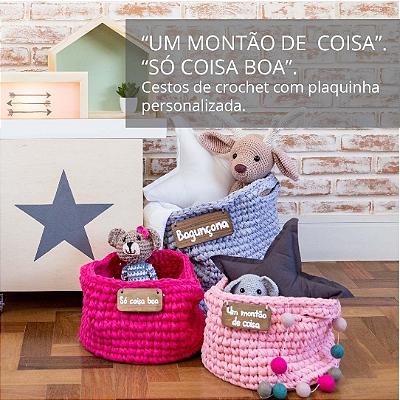 Cestos de crochet com plaquinha personalizada