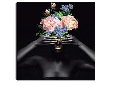 Quadro 70x70 Mulheres Negras com Flores MN-06