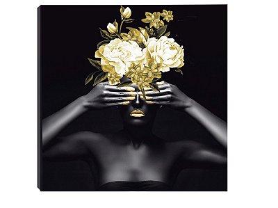 Quadro 70x70 Mulheres Negras com Flores MN-04