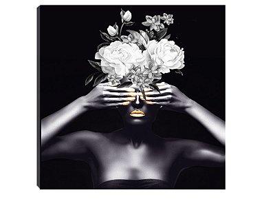 Quadro 70x70 Mulheres Negras com Flores MN-02