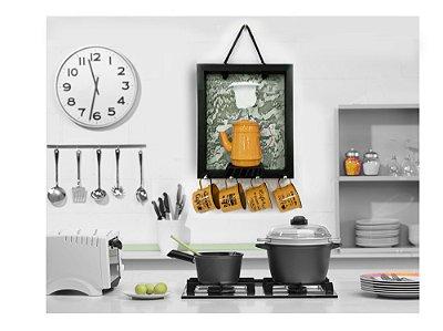 Enfeite para cozinha Coador Bule Xicara  Amarelo  30x40