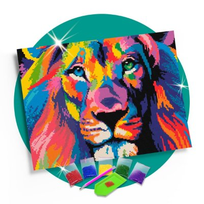 Pintura com Diamantes - Leão  Colorido 30x42