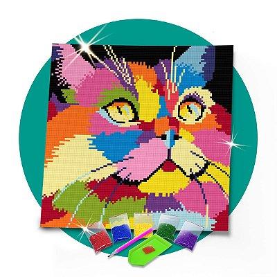 Pintura com Diamantes - Gato Colorido  30x30