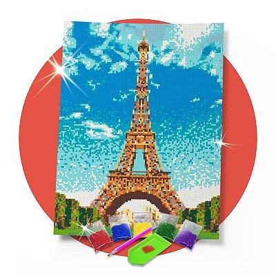Pintura com Diamantes -  Paris Torre Eiffel 30x42