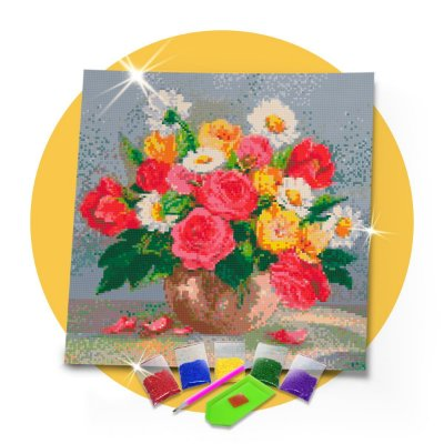 Pintura com Diamantes -  Flor do campo 40x40