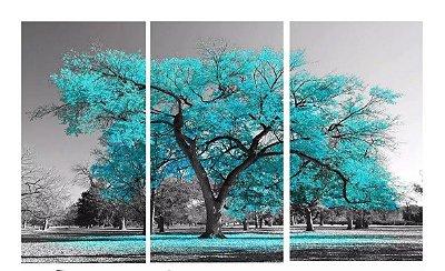 Quadro Digital Arvore Azul - Trio - 60x120 (3 pçs 40x60)
