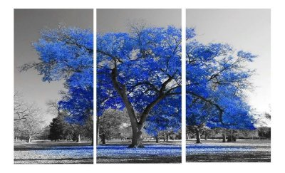 Quadro Digital Arvore Azul Royal - Trio - 60x120 (3 pçs 40x60)