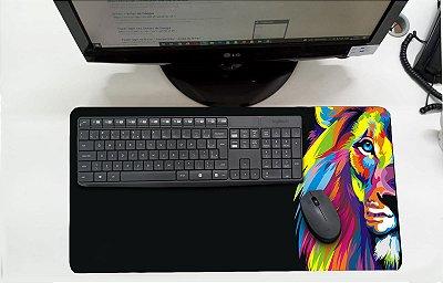 Mouse Pad / Desk Pad Grande 30x70 Linha Pets - Leão Colorido