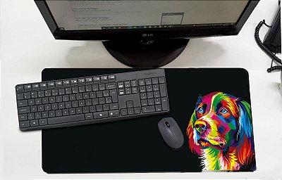 Mouse Pad / Desk Pad Grande 30x70 Linha Pets - cachorro colorido