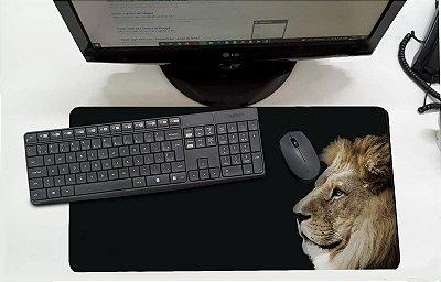 Mouse Pad / Desk Pad Grande 30x70 Linha Pets - Leão Marrom
