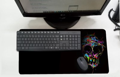 Mouse Pad / Desk Pad Grande 30x70 Paisagem - Caveira Colorida