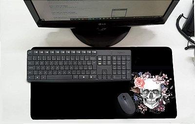 Mouse Pad / Desk Pad Grande 30x70 Paisagem - Caveira Flores