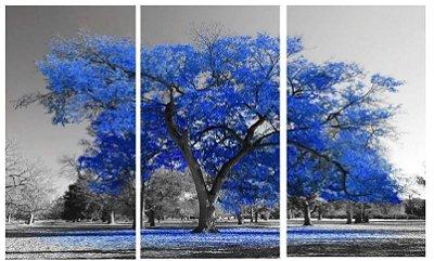 Quadro Digital - Arvore Azul Marinho - 100x200 - 3pçs