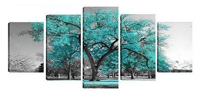 Quadro Árvore Azul Tiffany 5 Peças 70x162