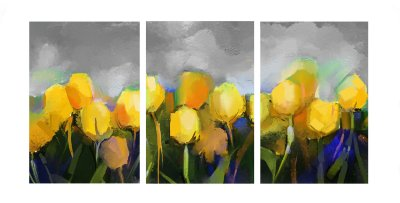 Quadro TRIO 60x120 - FLORES AM AQUARELA 2009-A