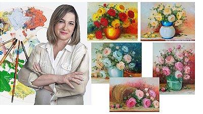 Curso de pintura On-line-  Óleo sobre Tela - Aprenda como pintar 5 quadros de Rosas