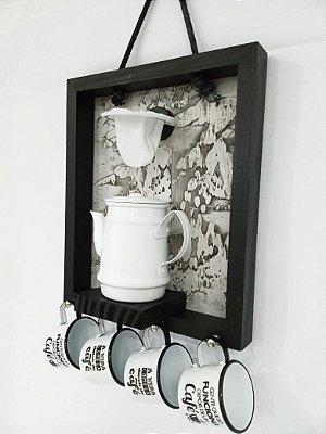 Enfeite para cozinha Coador Bule Xicara Branco  30x40