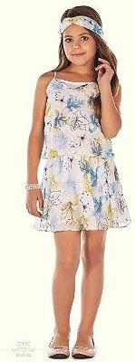 vestido Infantilandia Chiffon de Alça Estampado