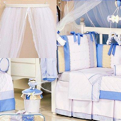 Dossel + Kit Berço Sleep Azul 9 Pçs Luxo 100% Algodão 200 Fios