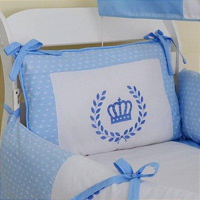 Kit Berço Menino Coroa Azul Claro 10 Pcs Tecido Coroinha Algodão