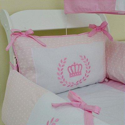Kit Berço Menina Coroa Rosa 10 Pcs Tecido Coroinha Algodão