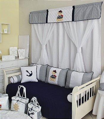 Cortina Quarto de Bebe URSO MARINHEIRO Forrada 5 pçs - 2.00 x 1.60