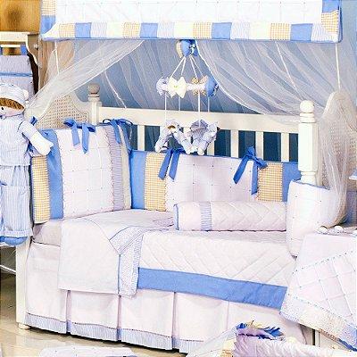 Kit Mini Berço Canaã Sleep Azul 9 Pçs 100% Algodão | Com Mosquiteiro