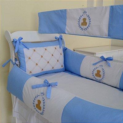 Kit Mini Berço Canaã Urso Principe Teddy Azul Claro 9 Pcs | Com Mosq