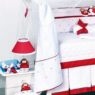 Toalha Banho de Bebe Forrada Capuz Retrô Vermelho
