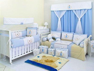 Quarto de Bebê Completo Urso Principe ALBERTO Azul Claro 27 Peças