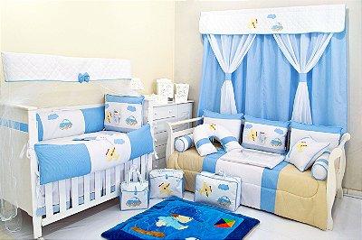 Quarto de Bebê Completo Menino LEANDRO Azul 100% Algodão 27 Peças