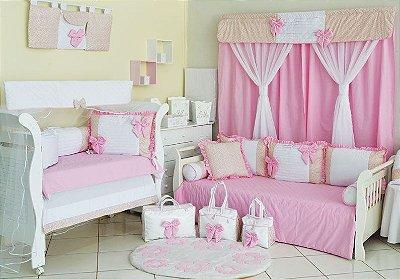 Quarto de Bebê Completo Menina LAÇOS rosa com Cama Babá 27 Peças