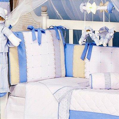 Kit Berço Sleep Americano Azul 10 Pçs 100% Algodão / Com Mosquiteiro
