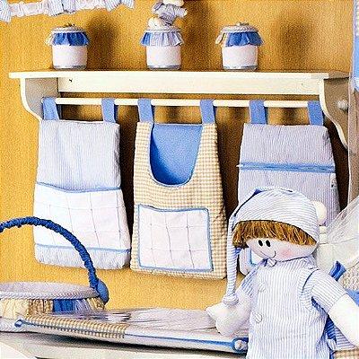 Porta Trecos Quarto Bebe Sleep Azul Luxo 100% Algodão 3 Pçs