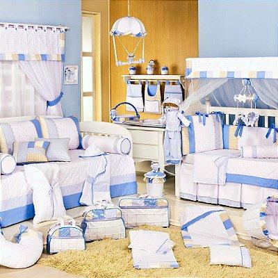 Quarto de Bebê Sleep Completo Menino Azul com Cama Babá Luxo 100% Algodão 27 Peças