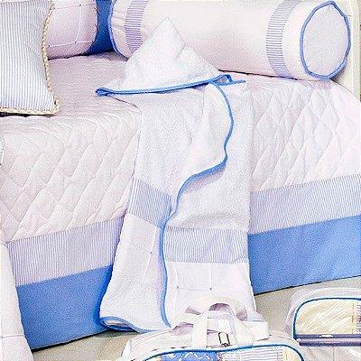 Toalha Banho de Bebe Sleep Azul Forrada com Toalha Fralda - Com Capuz