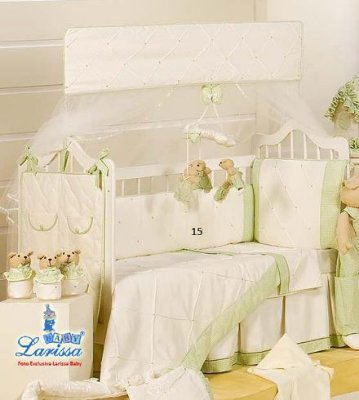 Kit Mini Berço Canaã Baby Dream Verde 9 Pçs 100% Algodão | Com Mosq