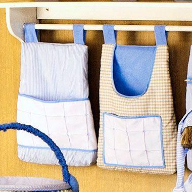 Porta Trecos Quarto Bebe Sleep Azul Luxo 100% Algodão 2 Pçs