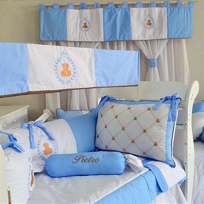Kit Berço Urso Principe Teddy Azul Claro + Cortina + Saia + Amament