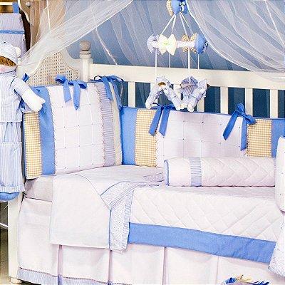 Kit de Berço Menino Americano Sleep Azul 9 Pçs Piquezinho 200 Fios 100% Algodão