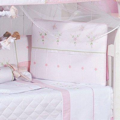Kit de Berço Menina Rosa Leticia Americano 10 Pçs Percal 100% Algodão / Com Mosquiteiro