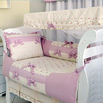 Kit de Berço Menina Rosa Antigo Elegance Americano 10 Pçs Percal 100% Algodão / Com Mosquiteiro