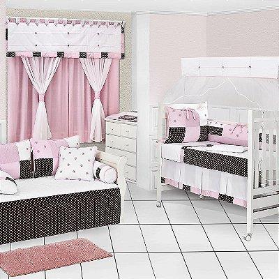 Quarto de Bebê Completo CHOCOLATE Rosa com Cama Babá Luxo 100% Algodão 27 Peças