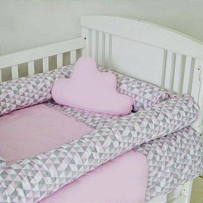 Kit de Berço com Nuvem e Rolinho Harmony Rosa 12 Pçs 100% Algodão Larissa Baby