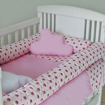 Kit de Berço com Nuvem e Rolinho Imperial Rosa 12 Pçs 100% Algodão Larissa Baby